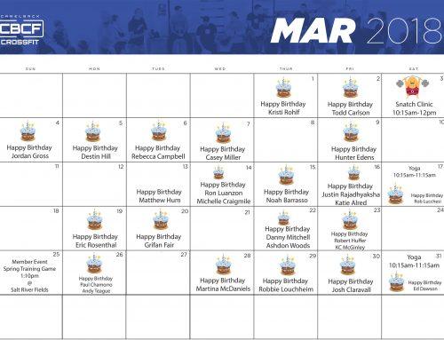 March  Calendar | 2018