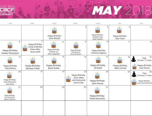 May Calendar | 2018