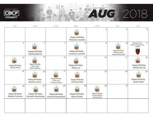 Calendar | August 2018